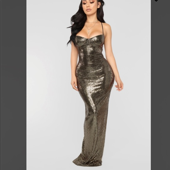 2e2270d0ec Fashion Nova Dresses   Skirts - Ultra Radiant Gold Sequin Dress